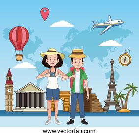 tourist couple with famous places characters