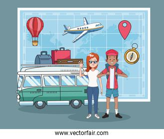tourist couple with paper map and van