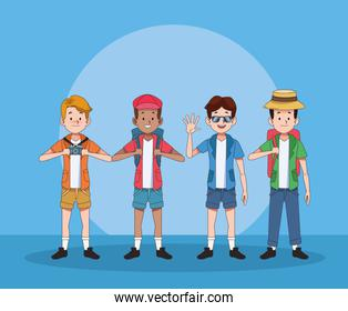 group of tourist men characters