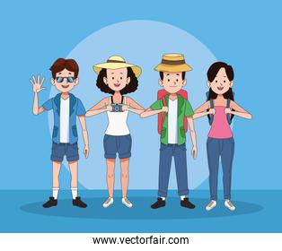 group of tourist people characters
