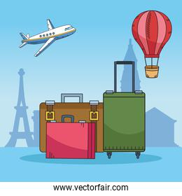 travel around the world with suitcases