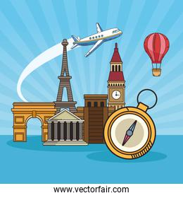 travel around the world with famous places