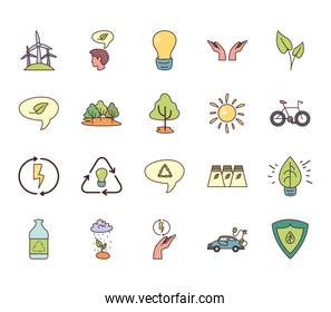 Isolated ecology fill style icon set vector design