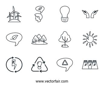Isolated ecology line style icon set vector design