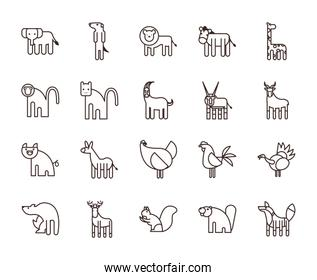 Cute animals cartoons line style icon set vector design