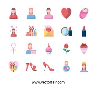 mothers day fill style icon set vector design
