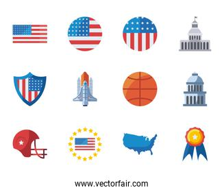 usa fill style icon set vector design