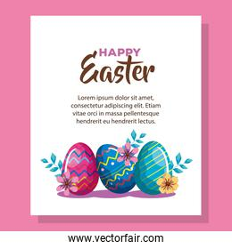 happy easter card with eggs decorated and flowers in pínk background