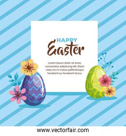 happy easter card with eggs decorated and flowers