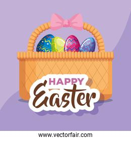 happy easter card with eggs decorated in basket wicker