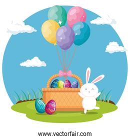 eggs easter in basket wicker with rabbit and balloons helium