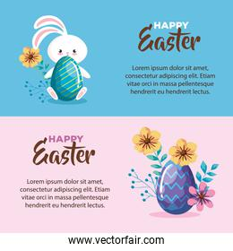 set of happy easter card with decoration