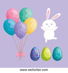 balloons helium with rabbit and eggs of easter
