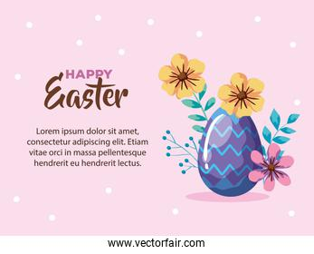 happy easter card with egg decorated and flowers