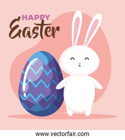 happy easter card with egg decorated and bunny