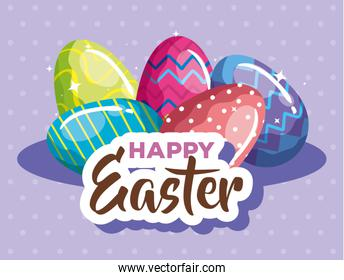 happy easter card with eggs decorated