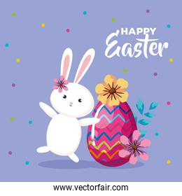 happy easter card with egg decorated and rabbit