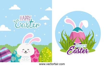 set cards happy easter with decoration