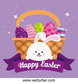 happy easter card with eggs in basket wicker and rabbit