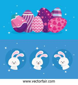 cute rabbits with eggs easter decorated