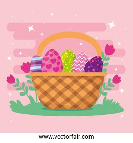 cute eggs easter decorated in basket wicker