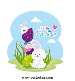 happy easter card with rabbits and eggs in landscape