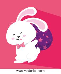 cute rabbit with egg easter stars decoration