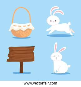 set of rabbits with basket wicker and signal wooden