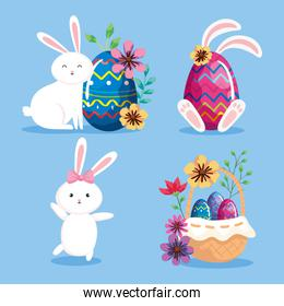 set of rabbits and eggs easter with decoration