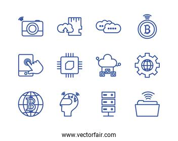 Technology and internet line style icon set vector design