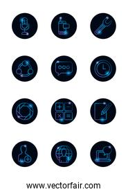 Isolated social media gradient style icon set vector design