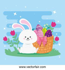rabbit with eggs easter in basket wicker and decoration