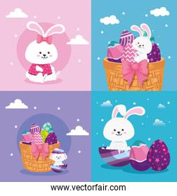 set scenes of happy easter with decoration