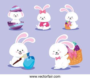 set card of happy easter with decoration