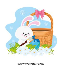 bunny with basket wicker and egg easter