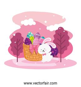 eggs easter in basket wicker with bunny and landscape
