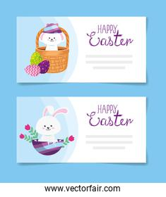 set cards of happy easter with decoration
