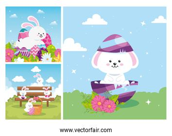 pack of scenes with happy easter and decoration