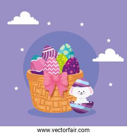 cute eggs easter with rabbit and basket wicker