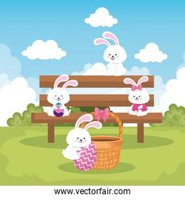 rabbits in park scene with eggs easter decorated