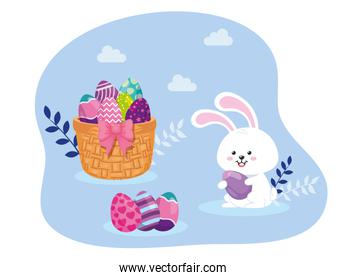 eggs easter in basket wicker with rabbit