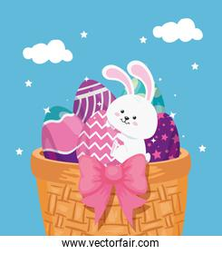 cute eggs easter with rabbit in basket wicker