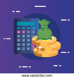 pile coins with bag cash and calculator