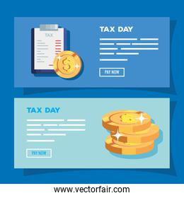 set of tax day poster with icons