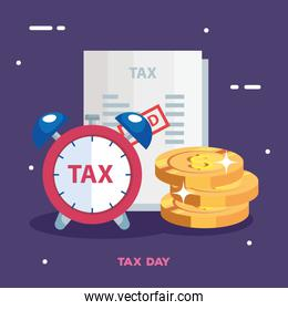 tax day poster with alarm clock and icons