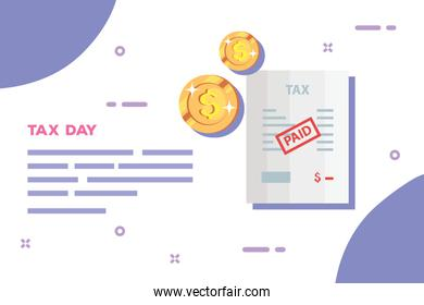 tax day poster with document paid and coins