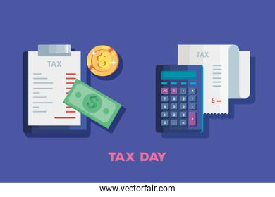 tax day poster with calculator and icons