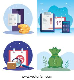 set scenes of tax day and icons