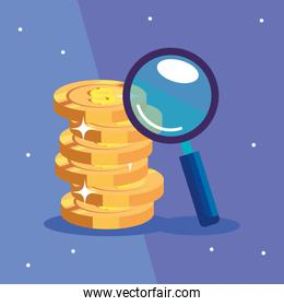 pile coins with magnifying glass