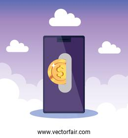 smartphone device with coin icons